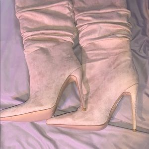 Pretty Little Things Suede Heel Thigh High Boots